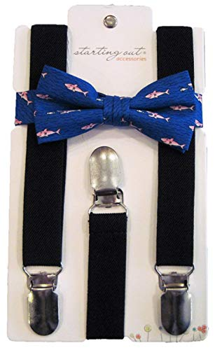 Blue Fish Tie - Starting Out Baby Boy Summertime Suspenders and Bow Tie Set (Navy Suspenders/Blue Tie with Fish)