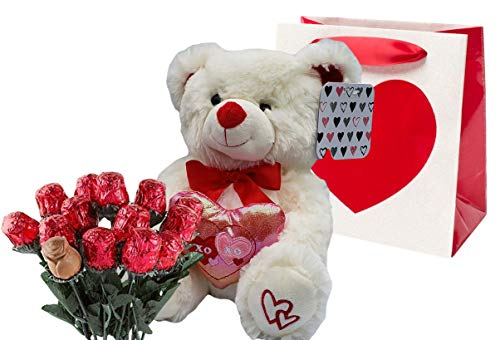 Valentines Day Gift Basket   10 Inches Teddy Bear Plush (Color May Vary), Valentine Theme Gift Bag & A dozen Belgian Milk Chocolate Roses Bouquet 2.11 ounce   For Her Wife Girlfriend Mother Daughter