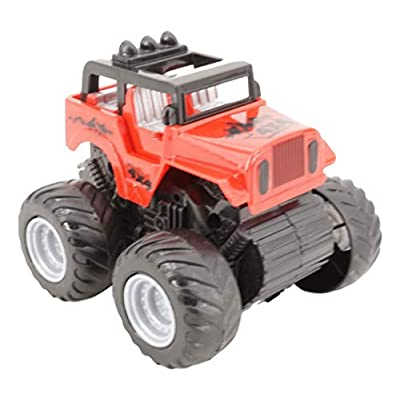 Friction Powered Plastic 4WD Jeep and Monster Truck Set (4 Pc, 1 of Each) 3.5 in L x 3 in H, Big Tire Wheel Trucks, Non-Toxic: Toys & Games