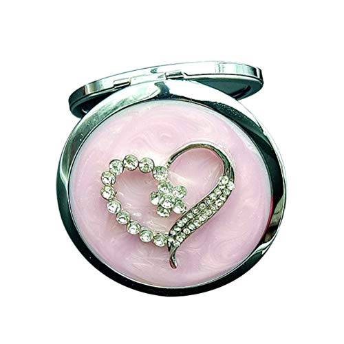 Vosarea Pocket Mirror Crystal Vintage Compact Round Purse Folding Women's Makeup ()