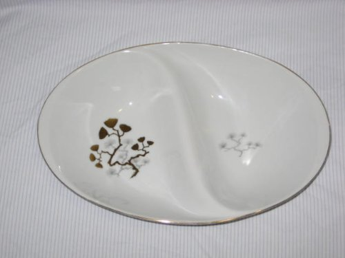 Vintage Amcrest Fine China Golden Ming Meito Oval Divided Serving Dish - Made In Japan