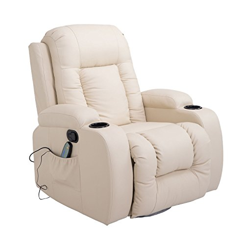 HOMCOM Massage Recliner Chair Heated Vibrating PU Leather Ergonomic Lounge 360 Degree Swivel with Remote - Cream White (Sofa Media)