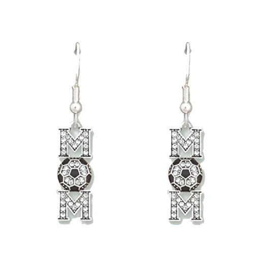 SOCCER MOM Earrings are Embellished with Clear Crystal Rhinestones.Perfect Mother's Day Gift! by From the Heart Enterprises
