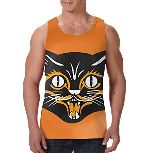 Halloween Black Cat Face Fangs Men's Graphics Tees Sport Gym Shirt -