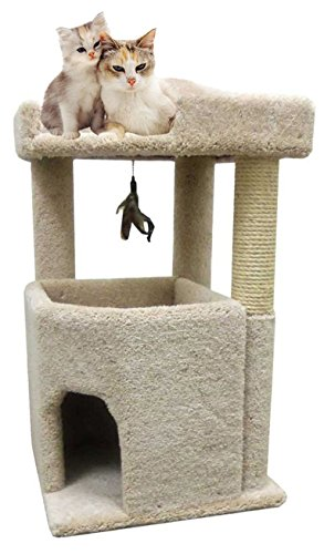 - CozyCatFurniture 33 inches Big Cat Condo Furniture for Large Cats, Made in USA, Solid Wood Poles, Large Bed and Sisal Scratching Post, Thick Beige Carpet