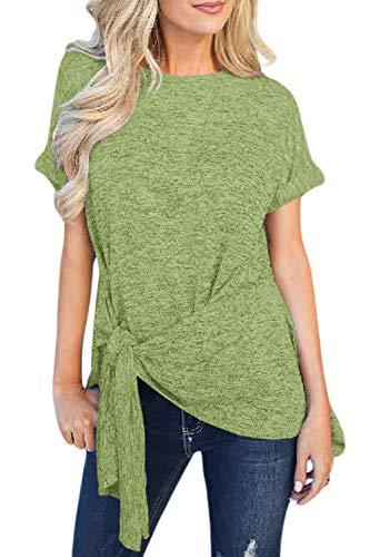 Unidear Women's Round Neck Short Sleeve Wrap Front Tie Waist Blouses Tops #4Grass Green XL ()