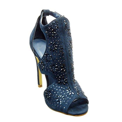 Angkorly - Zapatillas de Moda Tacón escarpín stiletto abierto mujer flores strass Talón Tacón de aguja alto 11 CM - Azul