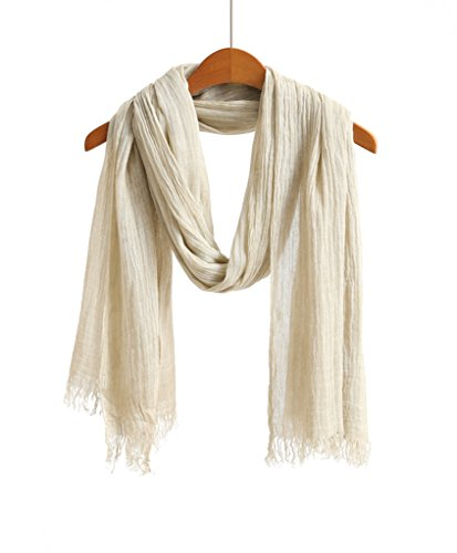 WS Natural Scarf / Shawl / Wrap Men and Women Linen Feel Scarves (Cream) (Scarf Fabric)