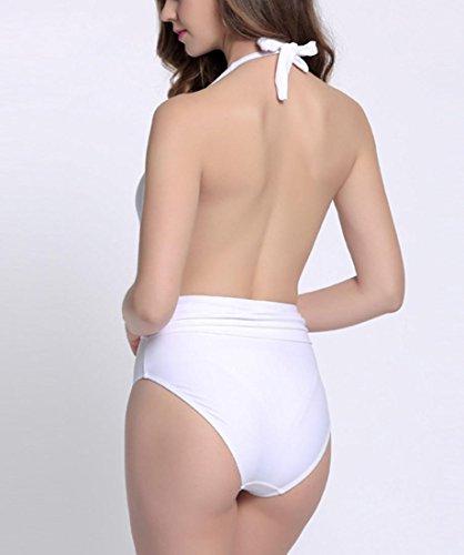 HZZ Blanca de una pieza halter del traje de baño de la playa del bañador del bikini de las mujeres sin respaldo White