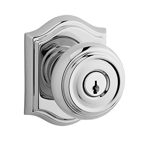 Baldwin ENTRATAR260 Reserve Entry Lockset x Traditional with Traditional Arch Rose, Bright Chrome Finish Arch Top Entry Doors