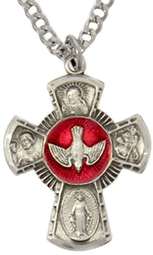Sterling Silver Enamel Pendant (Men's Sterling Silver Red Enamel 4 Way Cross Necklace with 24