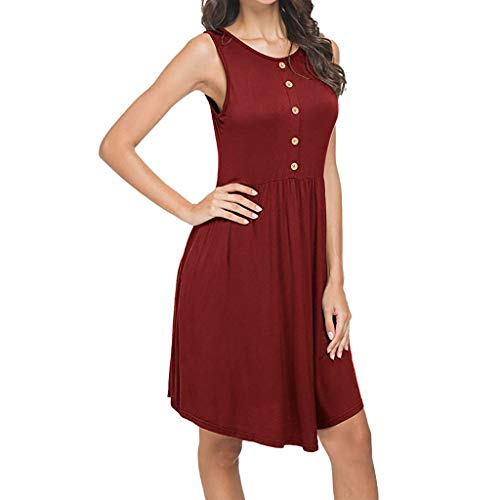 Swing T-Shirt Dresses for Women丨Summer Short Sleeve/Sleeveless Solid Button Dress丨Women's Casual Loose Dress with Pocket(Red 2,2XL) ()