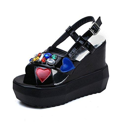 RuiOffene Sandalen Frauen eines Wortart B¨¹gel Schuhe mit hohen Abs?tzen mit schwerer Boden Strass Freizeit wilde Schuhen Black