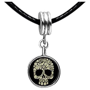 Chicforest Silver Plated Halloween skeleton clip art Photo Peridot Crystal August Birthstone Flower dangle Charm Beads Fits Pandora Charms
