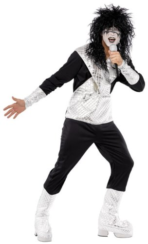 Smiffys Men's 70s Rocker Costume, Black and Silver - Chest 42