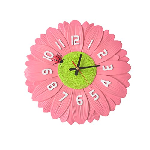 Anyer Continental Rural Wall Clock Creativity Living Room Bedroom Wall Clock Simple Decoration Chrysanthemum Clock Table Art Pocket Watch Silent Bell,Pink