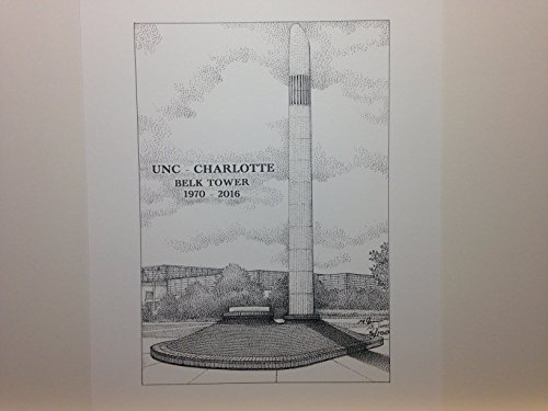 University of North Carolina at Charlotte - Belk Tower 8''x10'' pen and ink print by Campus Scenes