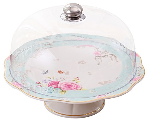 Jusalpha Blue Vintage English Style Ceramic Decorative Cake Stand-Cupcake Stand with Dome, FDCS04 (Glass Dome Cupcake Stand)