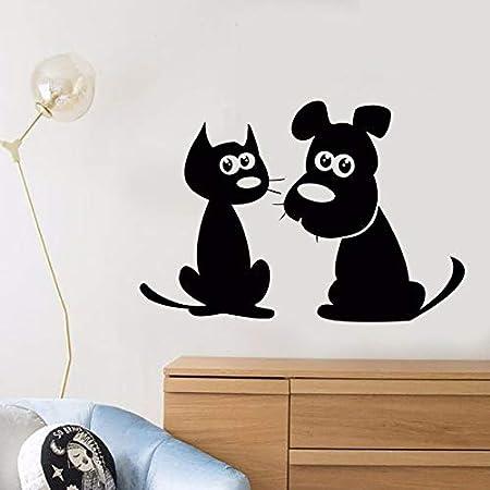 Etiqueta engomada de vinilo de dibujos animados gato perro ...