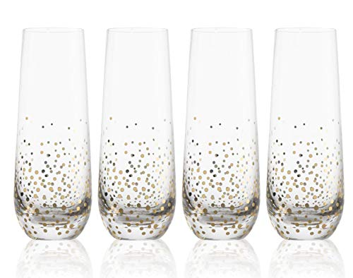 Trinkware Goldosa Stemless Champagne Flute Glasses With Gold Luster - Mimosa Glasses Set of 4 - 9oz