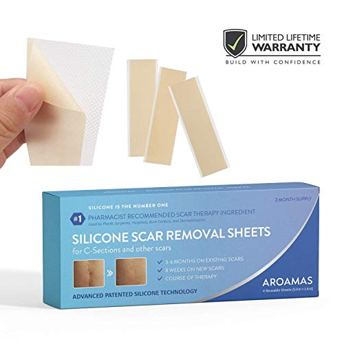 (Aroamas Professional Silicone C-Section Scar Removal Sheets, 4 pcs (2 Month Supply))