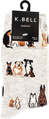 (K. Bell Women's Dog Lover Novelty Casual Crew Socks, Sitting (Grey), Shoe Size: 4-10)