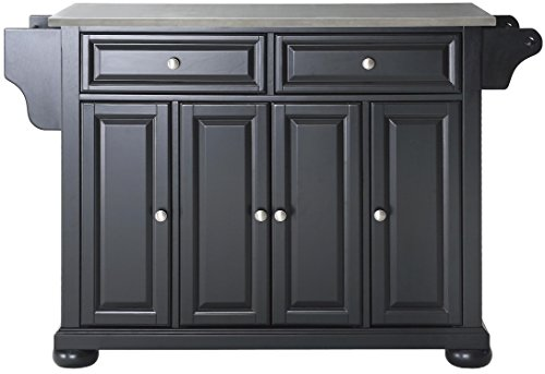 Crosley Furniture Alexandria Kitchen Island with Stainless Steel Top - Black