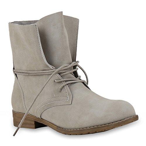 Stiefelparadies Damen Schnürstiefeletten mit Blockabsatz Basic Flandell Grau All