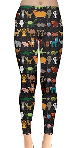 (CowCow Womens Dark Funny Cartoon Animals Character Zoo Leggings, Zoo -)