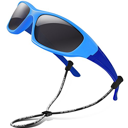 RIVBOS Rubber Kids Polarized Sunglasses With Strap Glasses Shades for Boys Girls Baby and Children Age 3-10 RBK003 (Blue&blue)