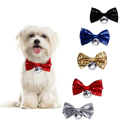 AOFITEE Dog Bow Tie Cat Sequin Bowtie with Bell - Pack of 5, Retro Glittering Pet Kitten Puppy...