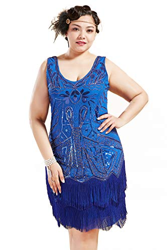 BABEYOND Women's Plus Size Flapper Dresses 1920s V Neck Beaded Fringed Great Gatsby Dress (Blue, 2X Plus (XXXL))