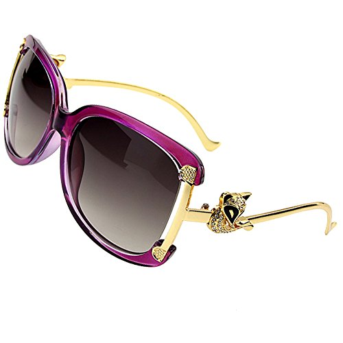 Sumery Gold Fox Alloy Frame Sunglasses Women Glasses UV400 (Purple Frame,Grey - Bans Rey