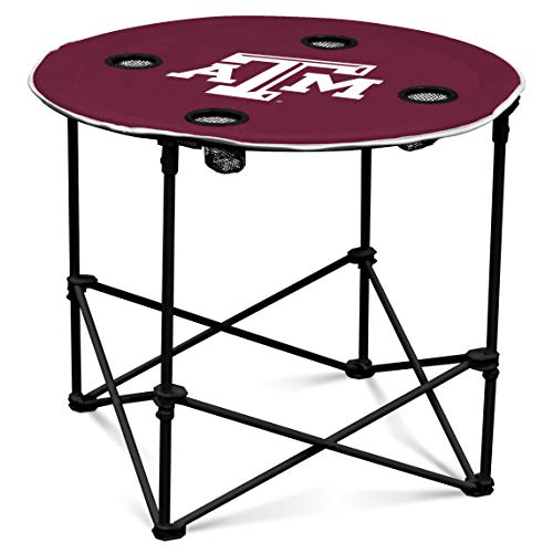 Texas A&M Aggies Collapsible Round Table with 4 Cup Holders and Carry Bag