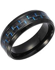 التيتانيوم الصلب خاتم الأزرق ألياف الكربون للرجال