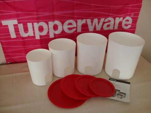 (Tupperware One Touch Reminder Canister Set of 4 w/ Red Lids - NEW)