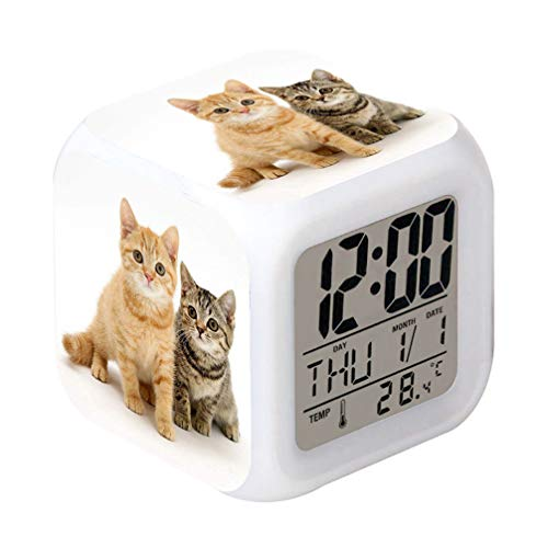 lock Cat Pet Design Creative Desk Table Clock Glowing Electronic Colorful Digital Alarm ()