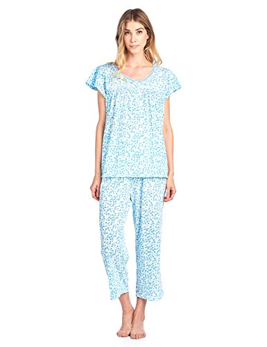 - Casual Nights Women's Short Sleeve Capri Pajama Set - Floral/Green - XX-Large