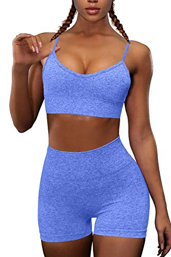 OQQ Yoga Outfit for Women Seamless 2 Piece Workout Gym High Waist Leggings with Sport Bra Set Blue