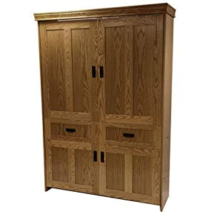 Queen Oak Wood Mission Face Murphy Bed Country Pine