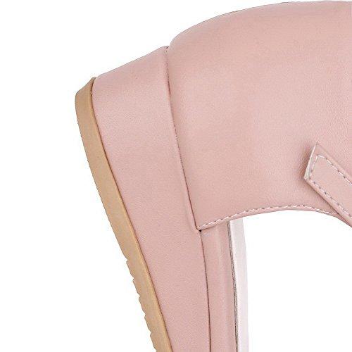 VogueZone009 Damen Offener Zehe Niedriger Absatz Rein PU Leder Keilsandale mit Plateau Pink