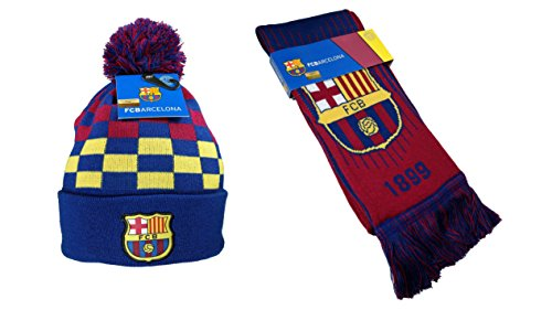 (FC Barcelona Authentic Official Licensed Soccer Beanie & Scarf Combo - 01-4)