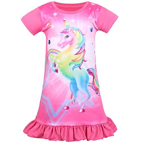 Sylfairy Unicorn Nightgown for Girls, Kids Rainbow Nightgowns Pajama Sleepwear Nightie Princess Night Dresses(Rose Red A+Unicorn, 6-7Years)