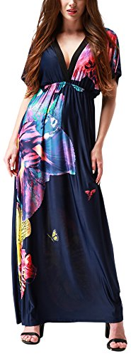 Wantdo Women's V Neck Maxi Dress Backless Casual Long Dresses Plus Size Navy -