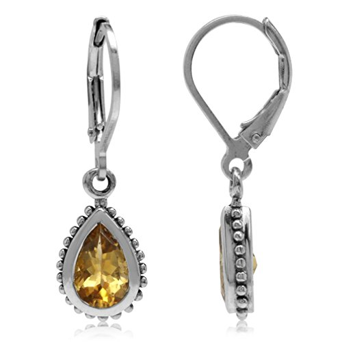 1.48ct. Natural Citrine 925 Sterling Silver Teardrop Dangle Leverback Earrings ()