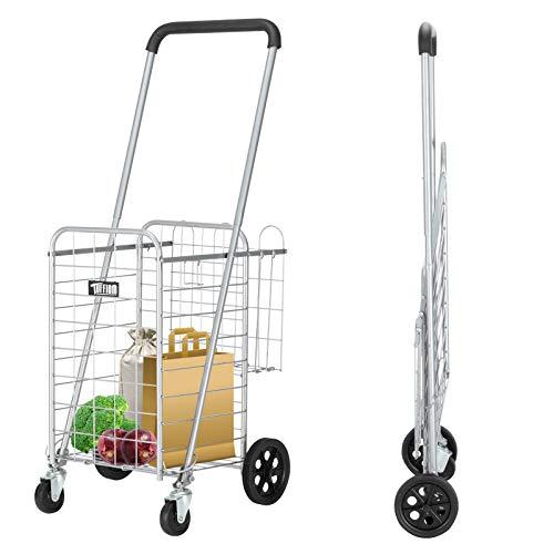 TUFFIOM Folding Shopping Grocery Cart, Heavy Duty