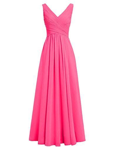 A Abendkleider Brautjungfernkleider Rosa Chiffon Hochzeit Kleider Rückenfrei HUINI Lang Ballkleider Ausschnitt Linie Festliche V Heißes BSITqnw6