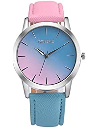 Women Rainbow Watches COOKI Clearance Female Watches on Sale Lady Watches Cheap Watches Leather Watch-H15 (Pink blue)