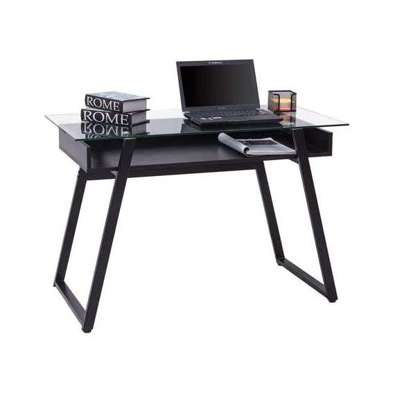 Tangkula Computer Desk Home Office Glass Top Wooden with Storage Shelf Laptop PC Desk Work Sturdy Writing Table Workstation 43.5''L x 21.5''W x 29''H (Black Frame Clear Glass Top) - 【Simple Design & Modern Style】The design of the Tangkula computer desk is modern and simple. The computer desk combines wood and glass to create a stylish and minimalist style. It is ideal for decorating a bedroom, living room, study or dormitory. 【Multi-function Workstation】This Tangkula computer desk has a variety of ways to use it. This multi-functional table can be used as a computer desk, desk, dressing table, side table, coffee table , etc. You can put it in your bedroom, living room, study, office and other places. 【Durable & Large Weight Capacity】The contemporary style writing table featuring thick wood frame and tempered glass, is very durable and sturdy. Spacious glass table top will hold item up to 110 lbs. It is enough to meet your daily needs. - writing-desks, living-room-furniture, living-room - 41gqF3F NTL. SS570  -