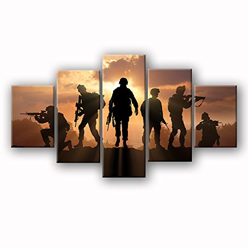 Cheap  USA US American Military Family Soldiers Gun Army Police Sunset Wall Art..